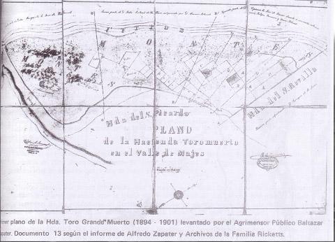 Plano de la area de Toro Muerto hecho por Baltazar Zapater. Fuente: Eloy Linares Malaga, Prehistoria de Arequipa, Tomo I, ed. UNSA, Arequipa, 1990, p. 25.